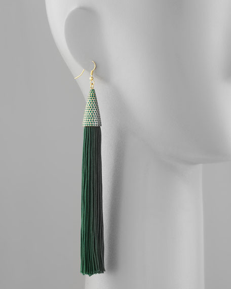 Tassel Earrings, Green
