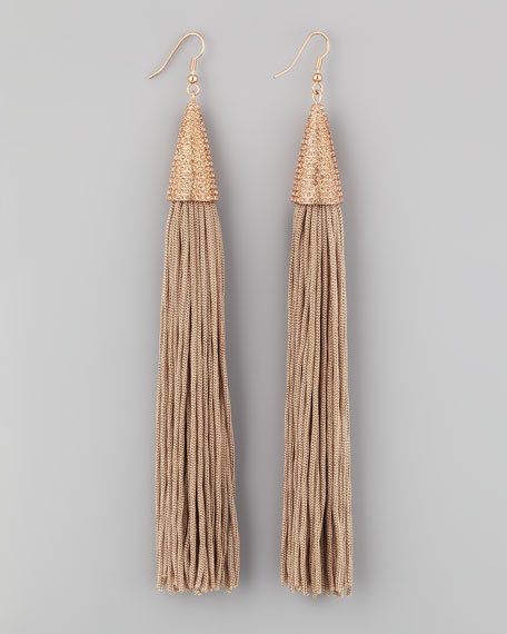 Tassel Earrings, Beige