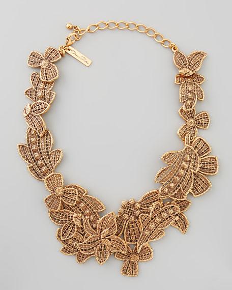 Antiqued Lace Bib Necklace