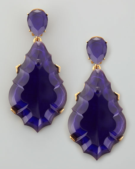 Resin Chandelier Clip-On Earrings, Dark Purple