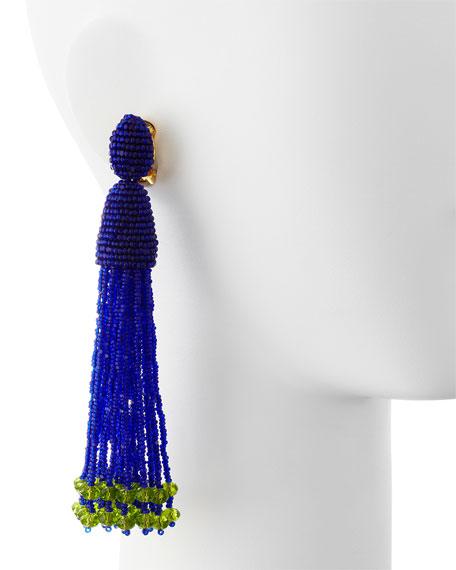 Long Beaded Tassel Clip Earrings, Mulberry Blue/Green