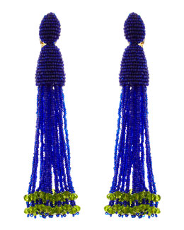 Oscar de la Renta Long Beaded Tassel Clip Earrings, Mulberry Blue/Green