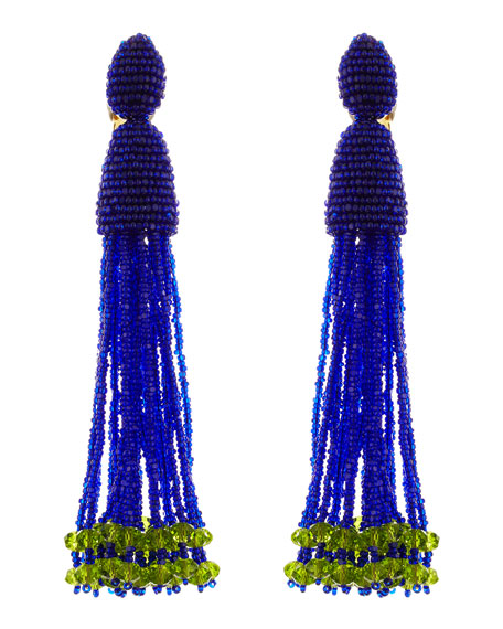 Long Beaded Tassel Clip Earrings, Mulberry Blue/Green