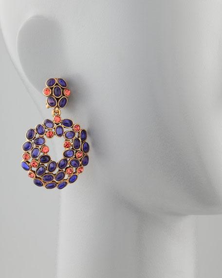 Cabochon Crystal Cluster Drop Earrings, Purple/Red