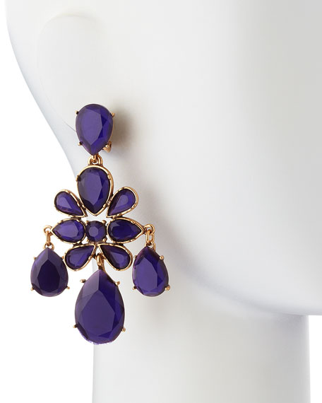 Faceted Chandelier Clip-On Earrings, Mulberry