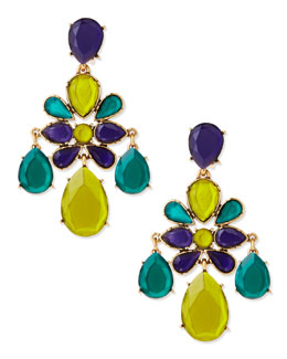 Oscar de la Renta Faceted Chandelier Clip-On Earrings, Mulberry