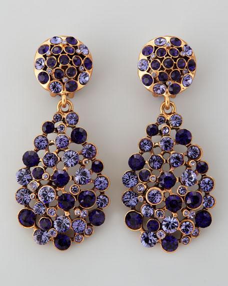 Crystal Teardrop Clip-On Earrings, Purple