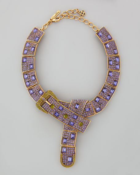 Buckle-Crystal Necklace, Yellow