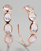 Ippolita Rose Rock Candy Squiggle Hoop Earrings, Rose Quartz