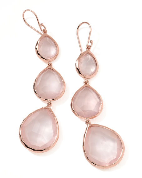 Rose Rock Candy Triple Drop Earrings, Rose Quartz