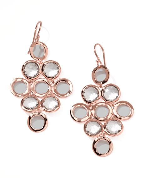 Rose Rock Candy Cascade Earrings, Clear Quartz
