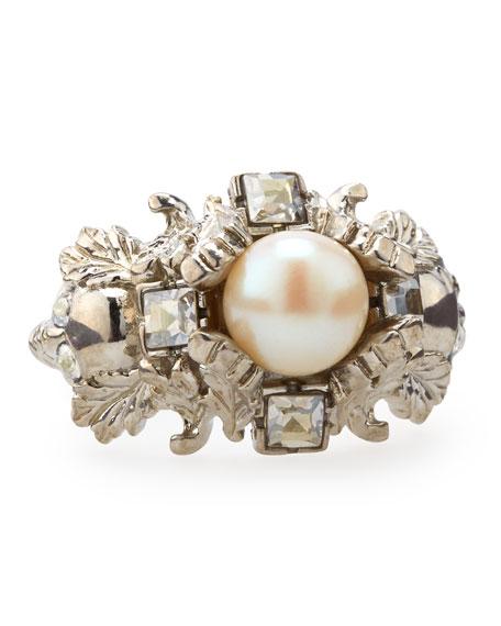 Leafy Pearl Ring