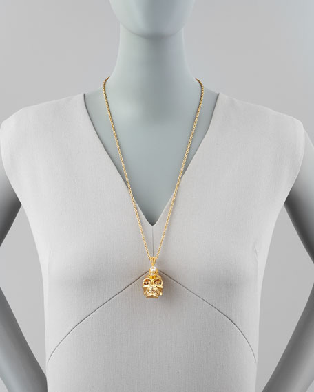 Punk Skull Pearl Pendant Necklace, Golden