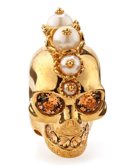 Punk Skull Pearl Ring, Golden