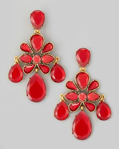 Crystal Chandelier Earrings, Cinnabar