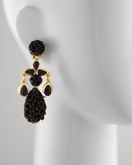 Carved Drop Earrings, Black