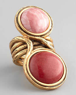 Oscar de la Renta Two-Cabochon Ring, Melon