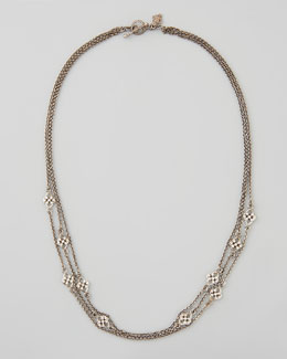 Armenta New World 3-Strand Diamond Station Necklace