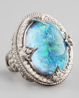 Armenta New World Large Oval Opal & Blue Topaz Ring