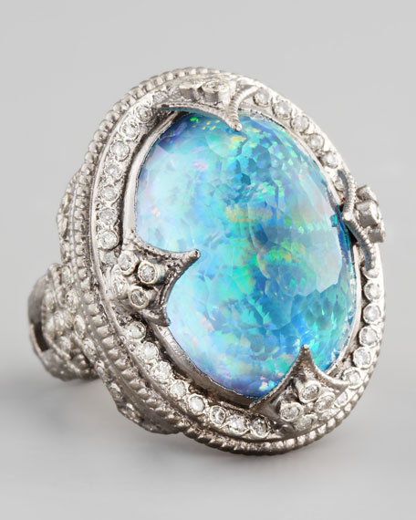 New World Large Oval Opal & Blue Topaz Ring
