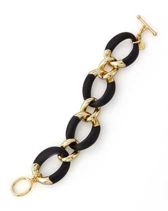 Neo Boho Lucite Toggle Bracelet, Black