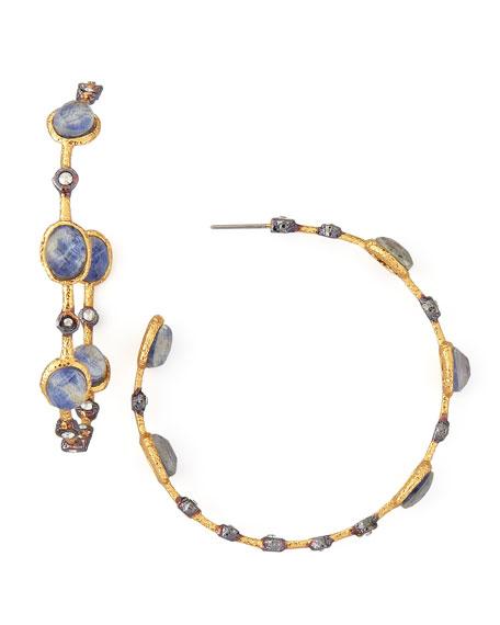 Sodalite-Doublet Lace Hoop Earrings