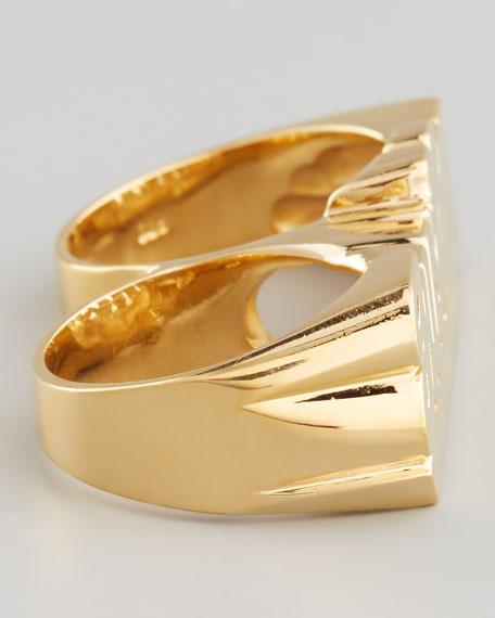 Double-Finger 18k Gold Vermeil Cursive Name Ring