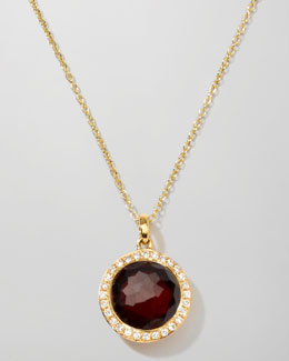 Ippolita Rock Candy 18k Gold Mini Lollipop Necklace in Garnet & Diamond