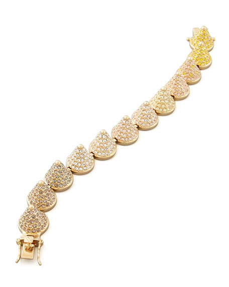 Pave Ombre Crystal Large Cone Bracelet, Yellow/Pink