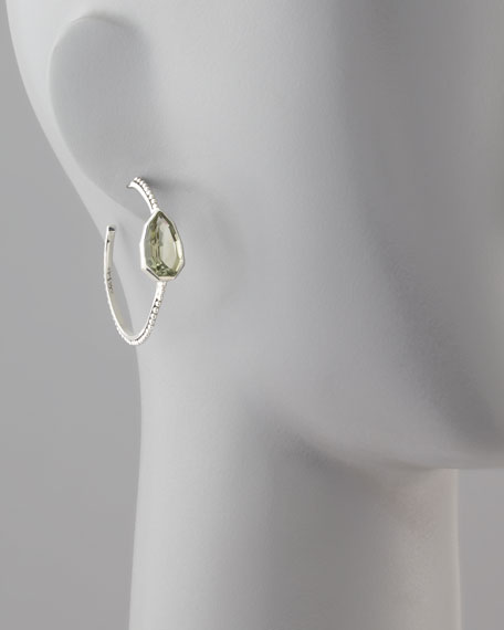 Cathedral Small Hoop Earrings, Green Amethyst