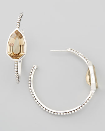 Cathedral Small Hoop Earrings, Yellow Quartz