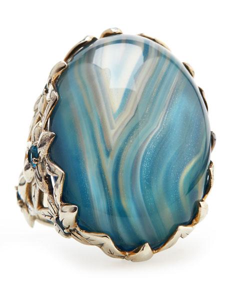 Blue Agate Delphinium Ring