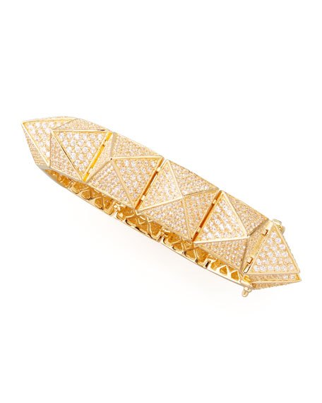 Large Pave Pyramid Bracelet, Yellow Gold
