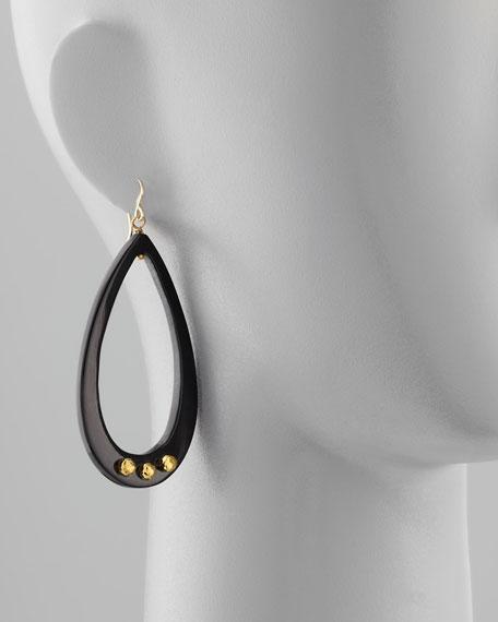 Chozi Horn Teardrop Earrings, Dark Horn