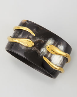 Ashley Pittman Pacha Bronze-Tubed Snake Bangle, Dark Horn
