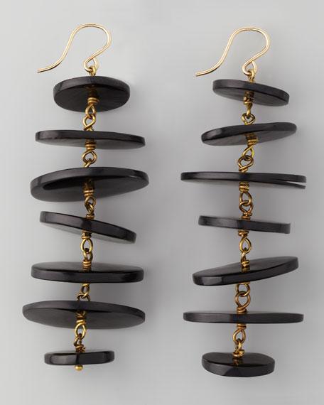 Kuyuga Multi-Tiered Disk Earrings, Dark Horn