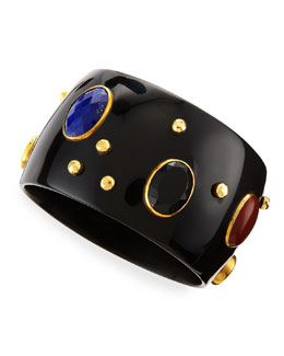 Ashley Pittman Multi-Stone Kutona Dark Horn Bangle