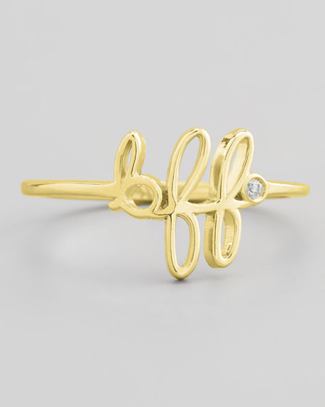 Bezel Diamond BFF Ring, Yellow Gold
