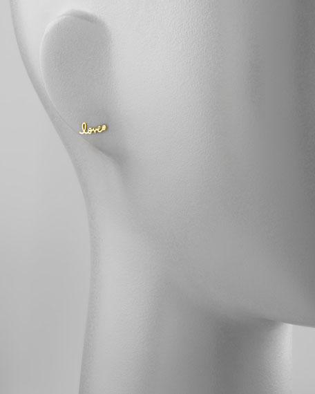 Diamond-Bezel Love Stud Earrings, Yellow Gold