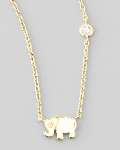 Elephant Pendant Bezel Diamond Necklace