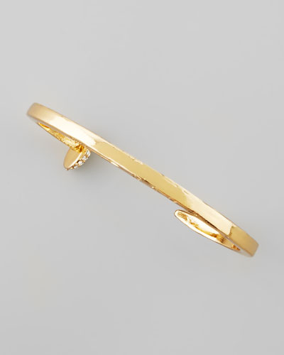 Skinny Crystal Railroad Spike Bracelet, Golden