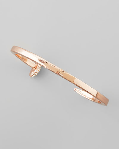 Skinny Crystal Railroad Spike Bracelet, Rose Golden