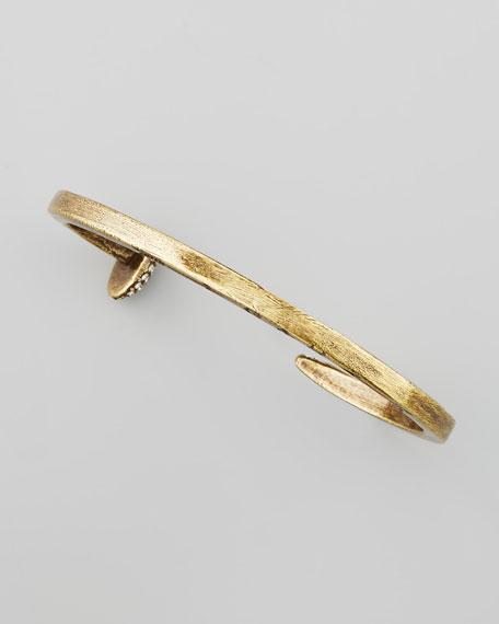 Skinny Crystal Railroad Spike Bracelet, Antiqued Brass