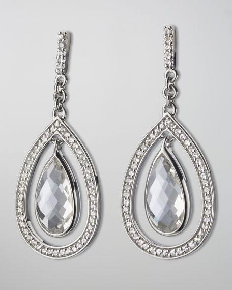 Sapphire-Trim Rock Crystal Teardrop Earrings