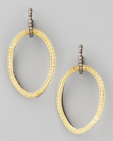Midnight Silver & 18k Gold Open-Drop Earrings