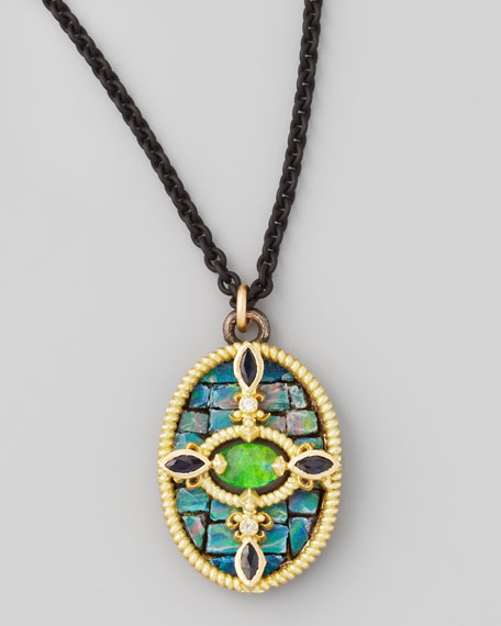 "Opal Mosaic Pendant Necklace, 17""L"