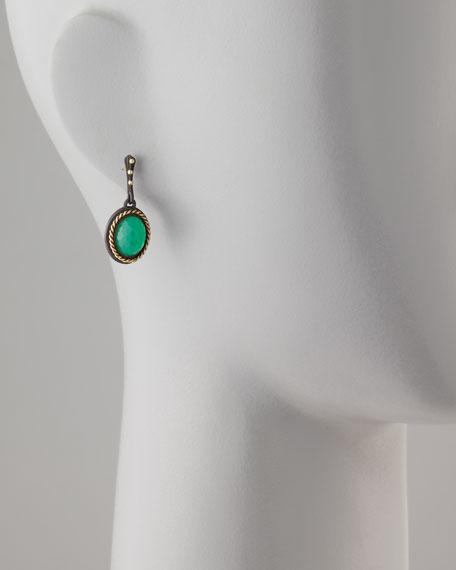 Midnight Oval Green Onyx Drop Earrings