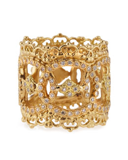 18k Yellow Gold Open Scalloped Ring with Diamonds