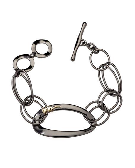 Notte 18k-Logo Black Sterling Silver Bracelet