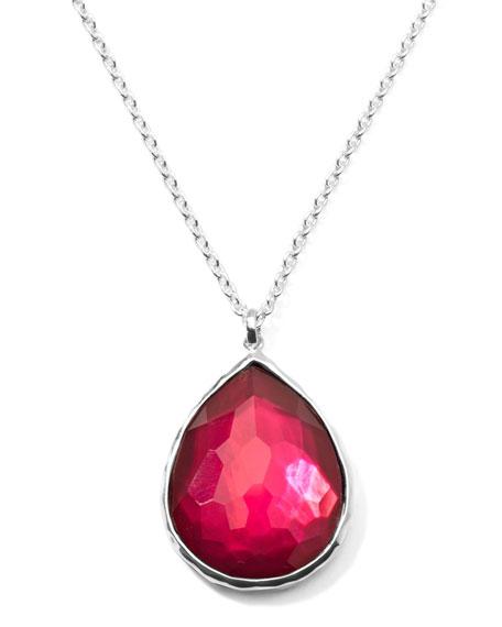 Wonderland Silver Large Teardrop Pendant Necklace, Raspberry